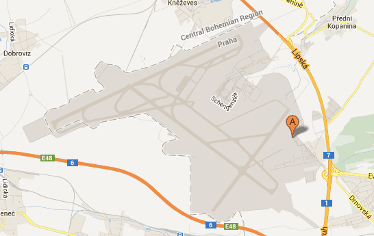 Googlemap image linking to location of Prague Airport